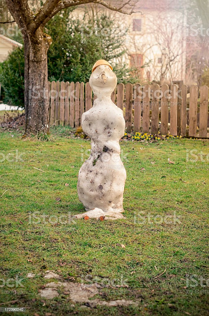 melting snowman stock photo