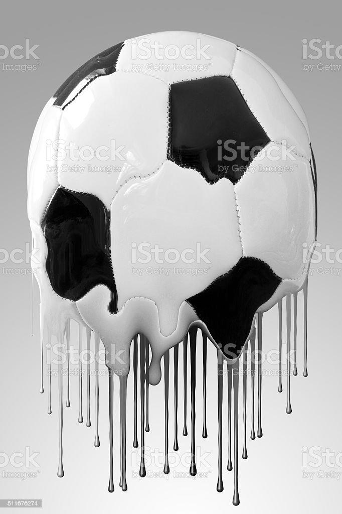 Melting soccer ball stock photo
