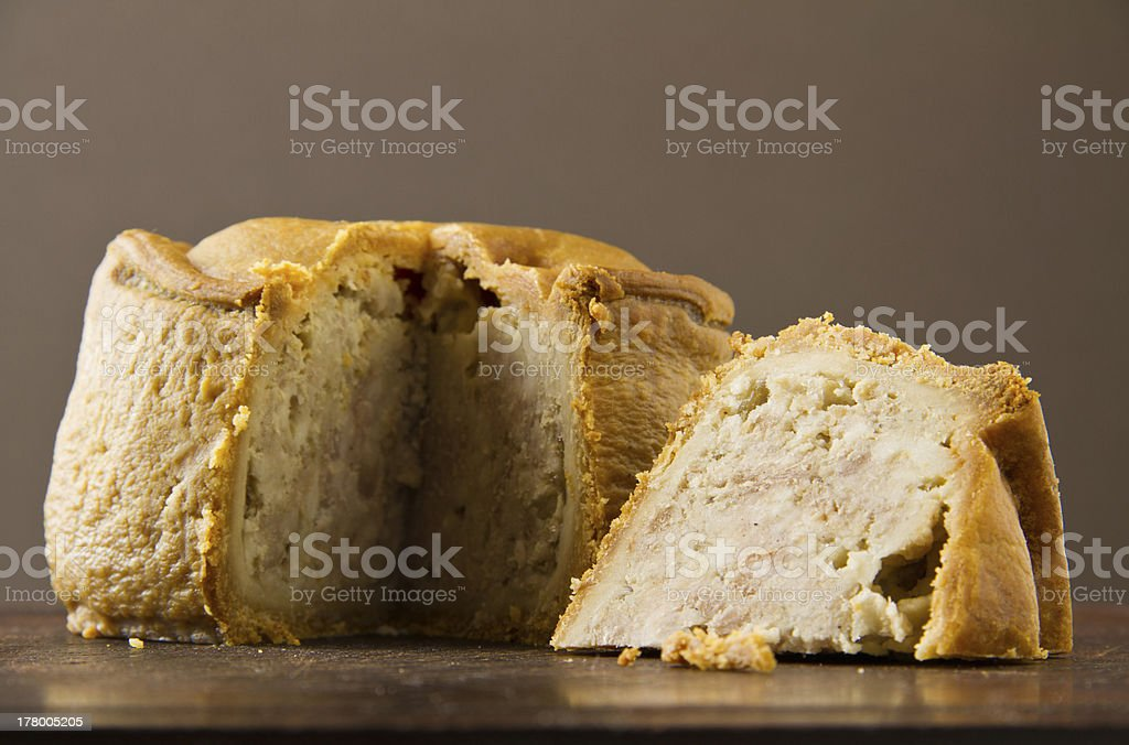 Melton Mowbray pork pie cut low shot stock photo