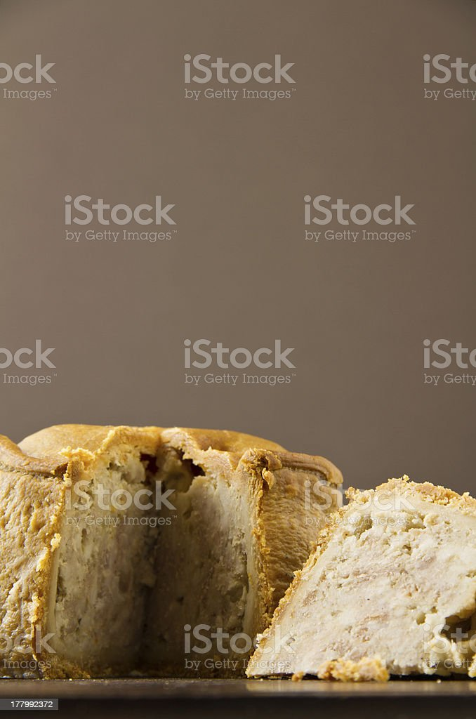 Melton Mowbray pork pie low shot cut stock photo