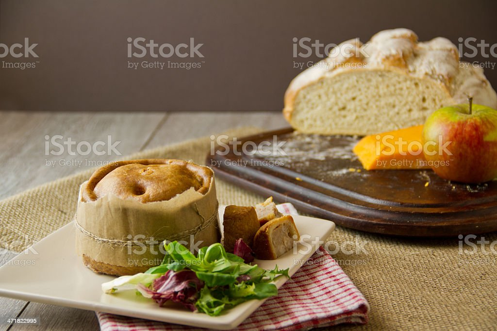 Melton Mowbray pork pie ploughman's lunch stock photo