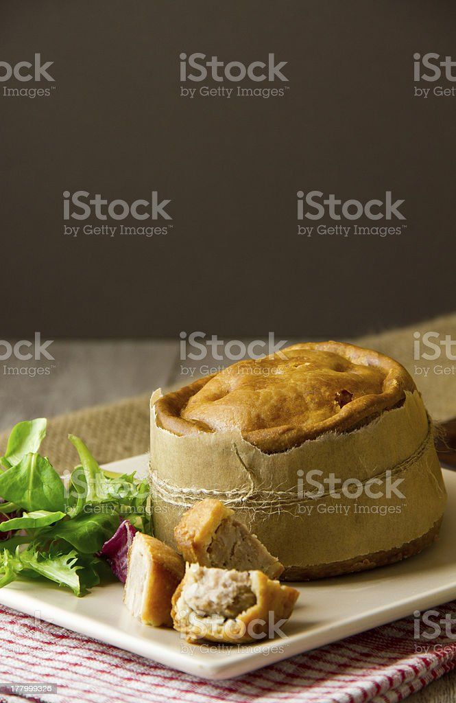 Melton Mowbray pork pies vertical stock photo