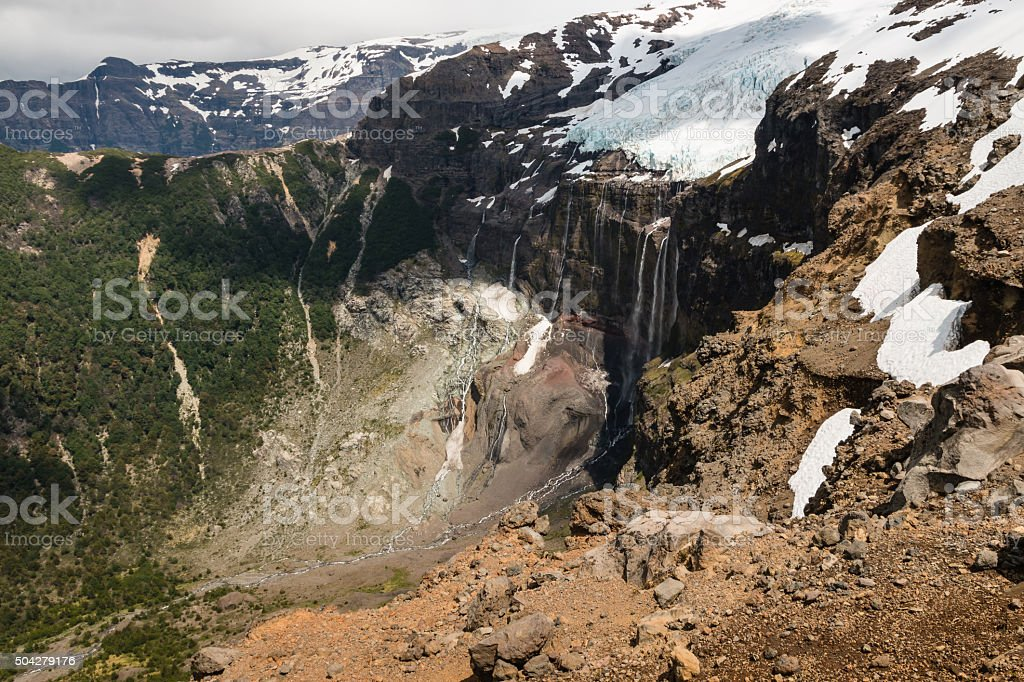 meltwater from glacier in Patagonia stock photo