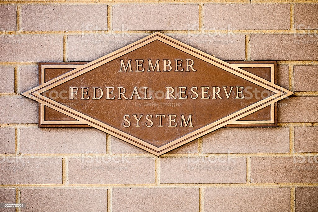 Member Federal Reserve System Sign At Bank stock photo
