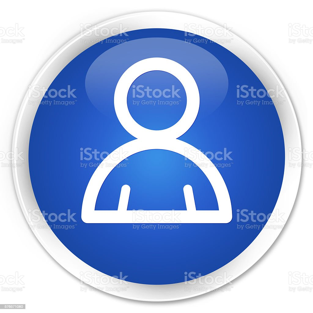 Member icon blue glossy round button stock photo