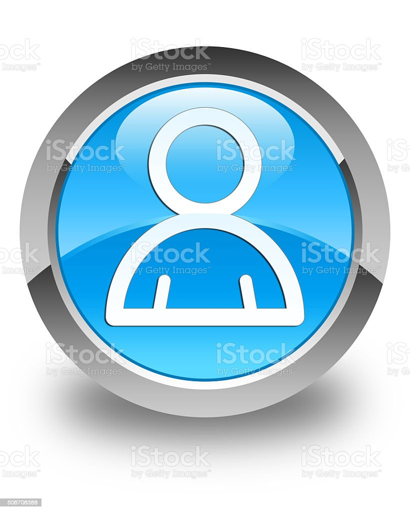Member icon glossy cyan blue round button stock photo