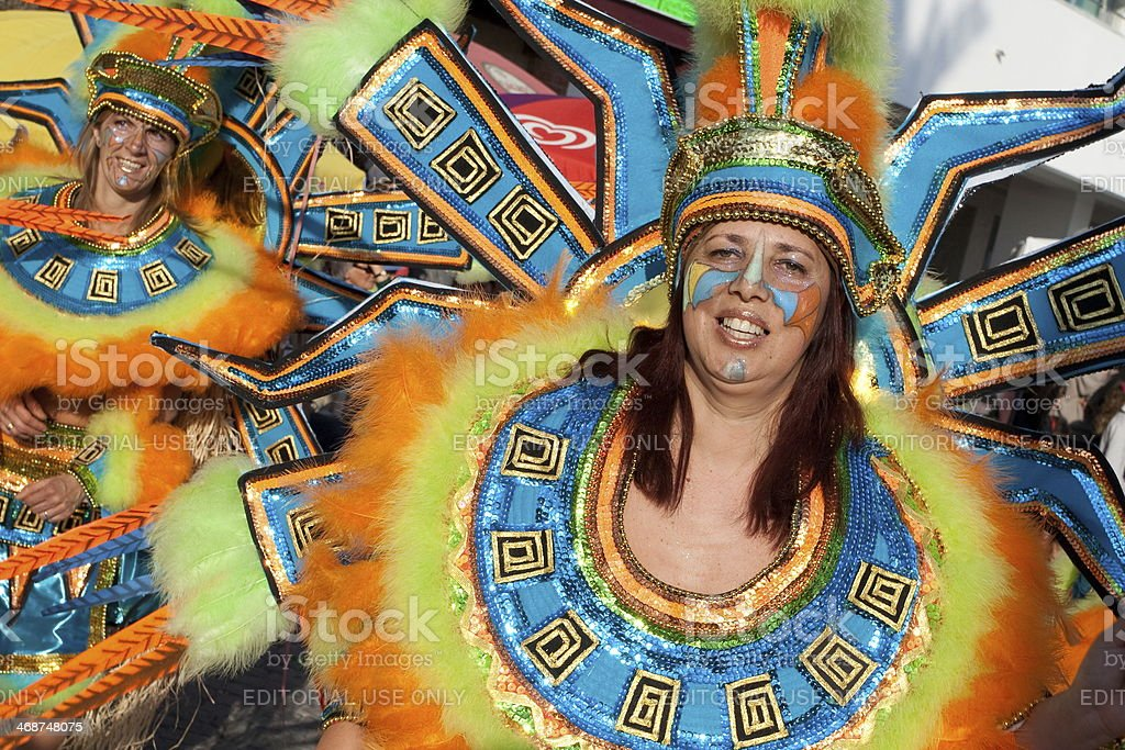Member of the Ala section of the Brazilian Carnival stock photo