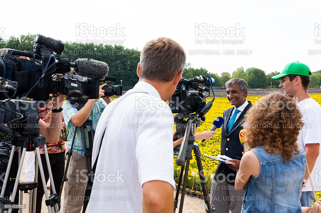 Member of the Guinness Book of Records gives an interview stock photo