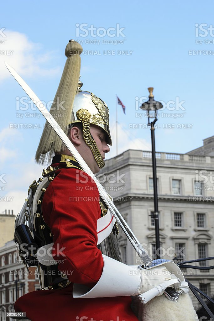 Member of the Household Cavalry lifeguards stock photo