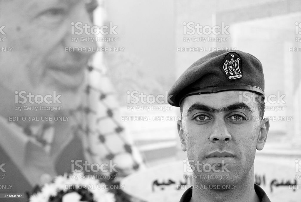 member of the Palestinian Presidential Guard in Ramallah, West Bank stock photo