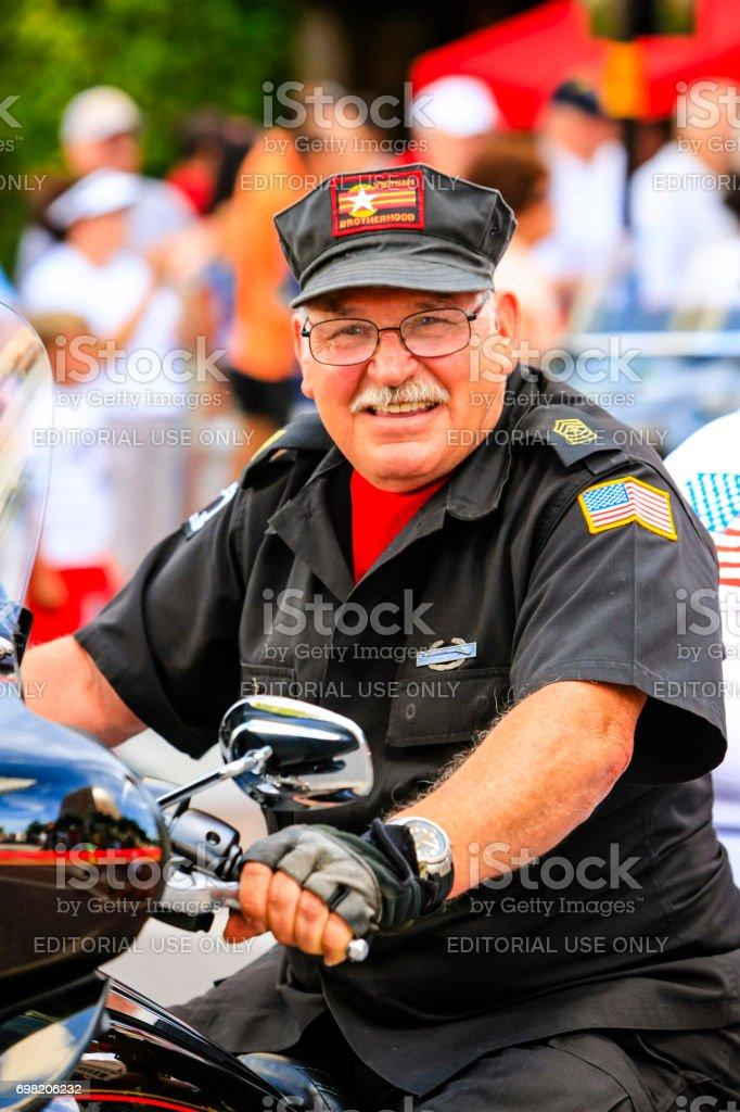 Member of the POW-MIA Vietnam Vets organization at the Memorial day parade in Sarasota FL, USA stock photo