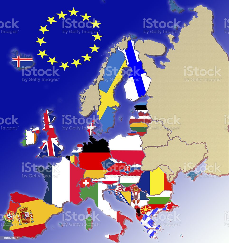Member states of the EU with Flag vector art illustration