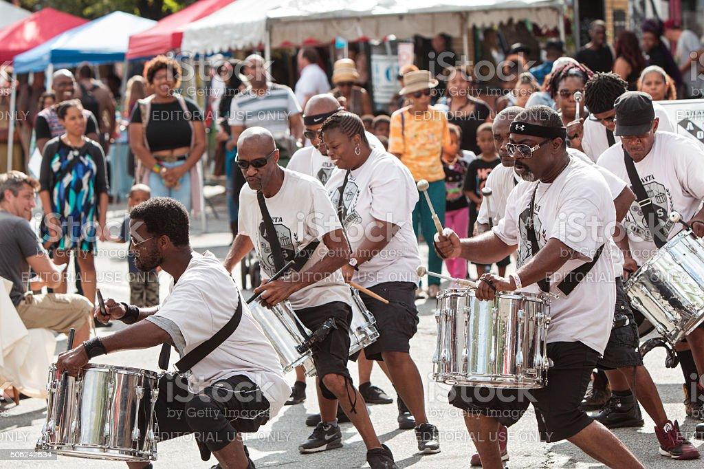 Members Of Adult Drum Group Perform At Atlanta Festival stock photo