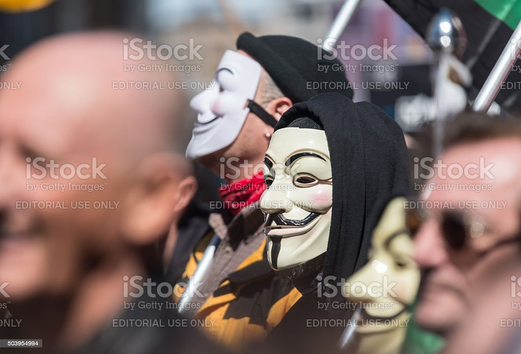 Members of Anonymous at Protest stock photo