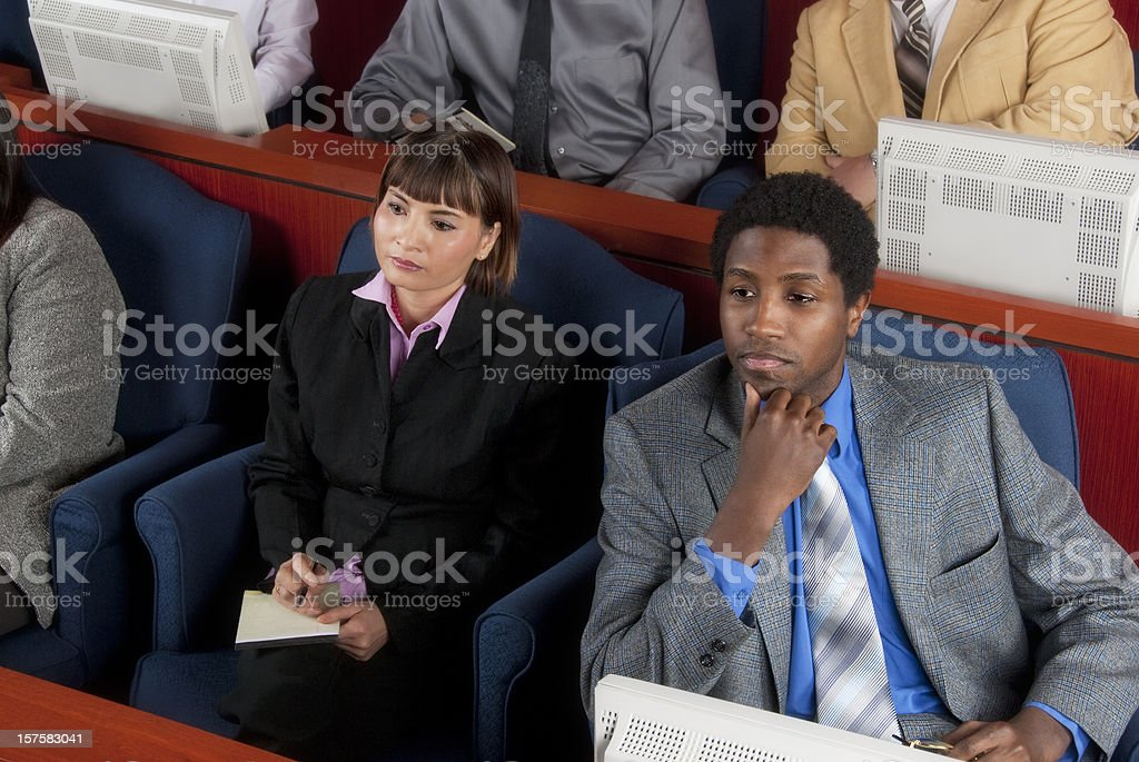 Members of diverse jury in a federal court stock photo