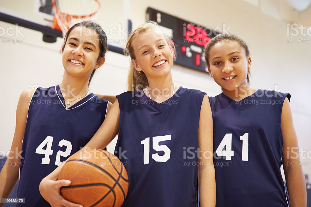 Members Of Female High School Basketball Team stock photo