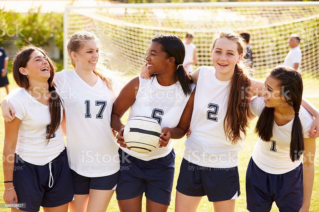 Members Of Female High School Soccer Team stock photo