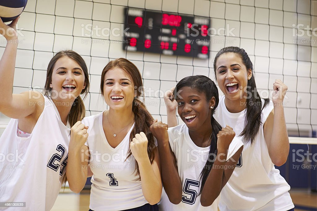 Members Of Female High School Volleyball Team stock photo