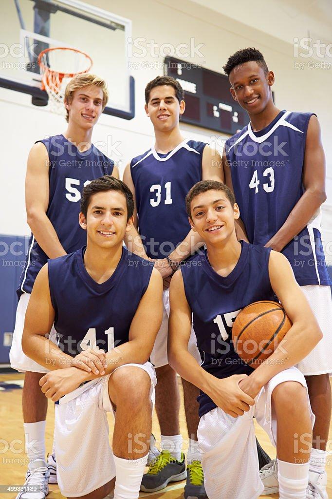 Members Of Male High School Basketball Team stock photo
