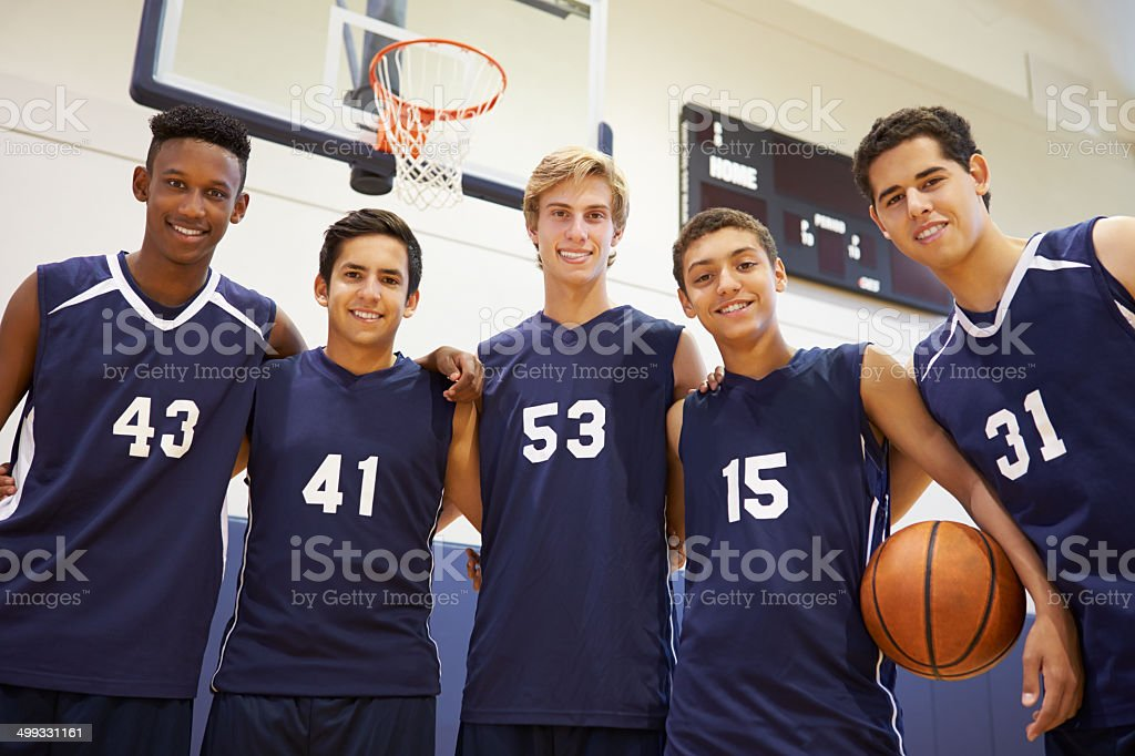 Members Of Male High School Basketball Team stock photo