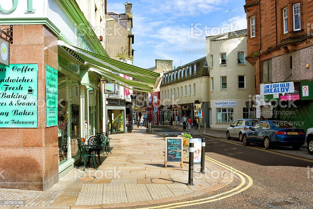 Members of the public on High street of Kirkcaldy in Scotland stock photo