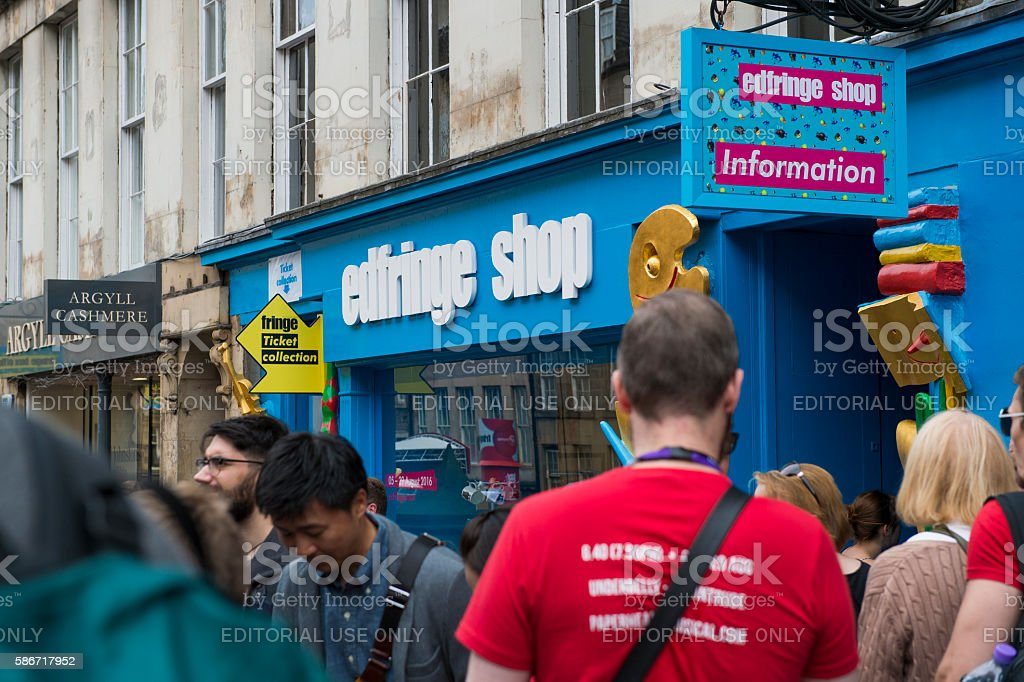 Members of the public outside the Edfringe in Edinburgh Scotland stock photo