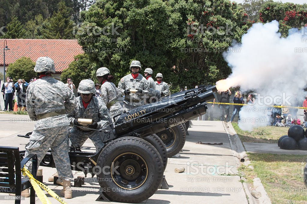Members of the U.S. Army's Pacific Training Division perform a stock photo