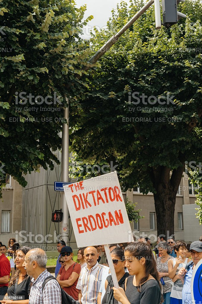 Members of Turkey's Alevi community protesting - erdogan a dictator stock photo