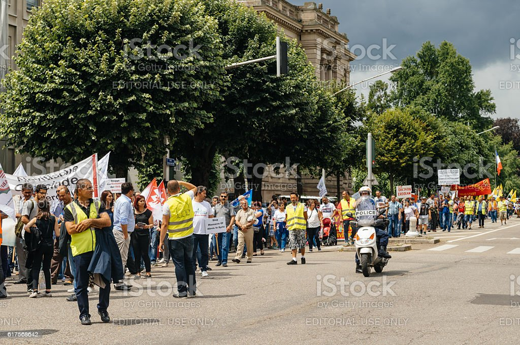 Members of Turkey's Alevi community protesting on closed boulevard stock photo