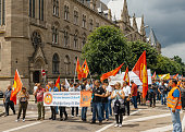 Members of Turkey's Alevi community protesting on closed boulevard