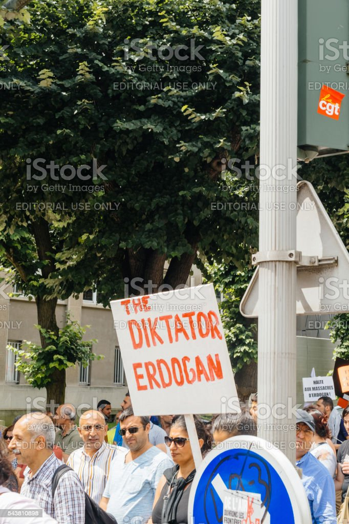 Members of Turkey's Alevi community protesting stock photo