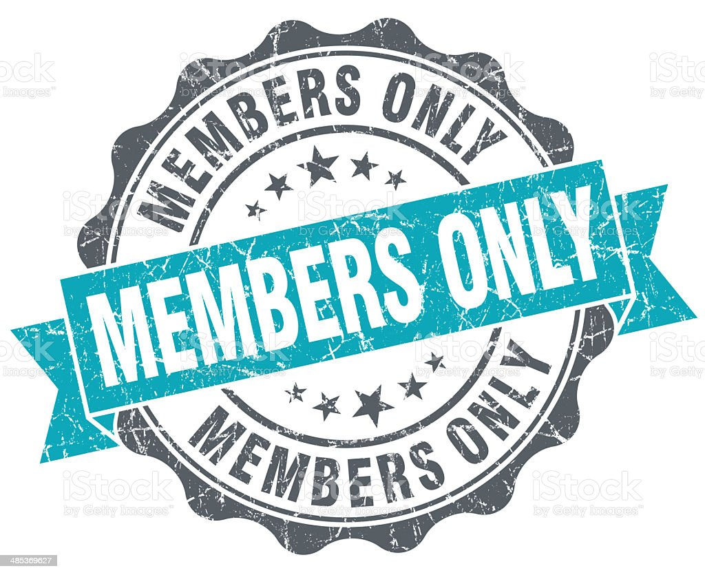 Members only blue grunge retro style isolated seal stock photo