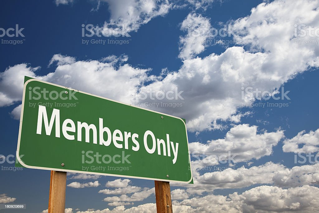 Members Only Green Road Sign royalty-free stock photo