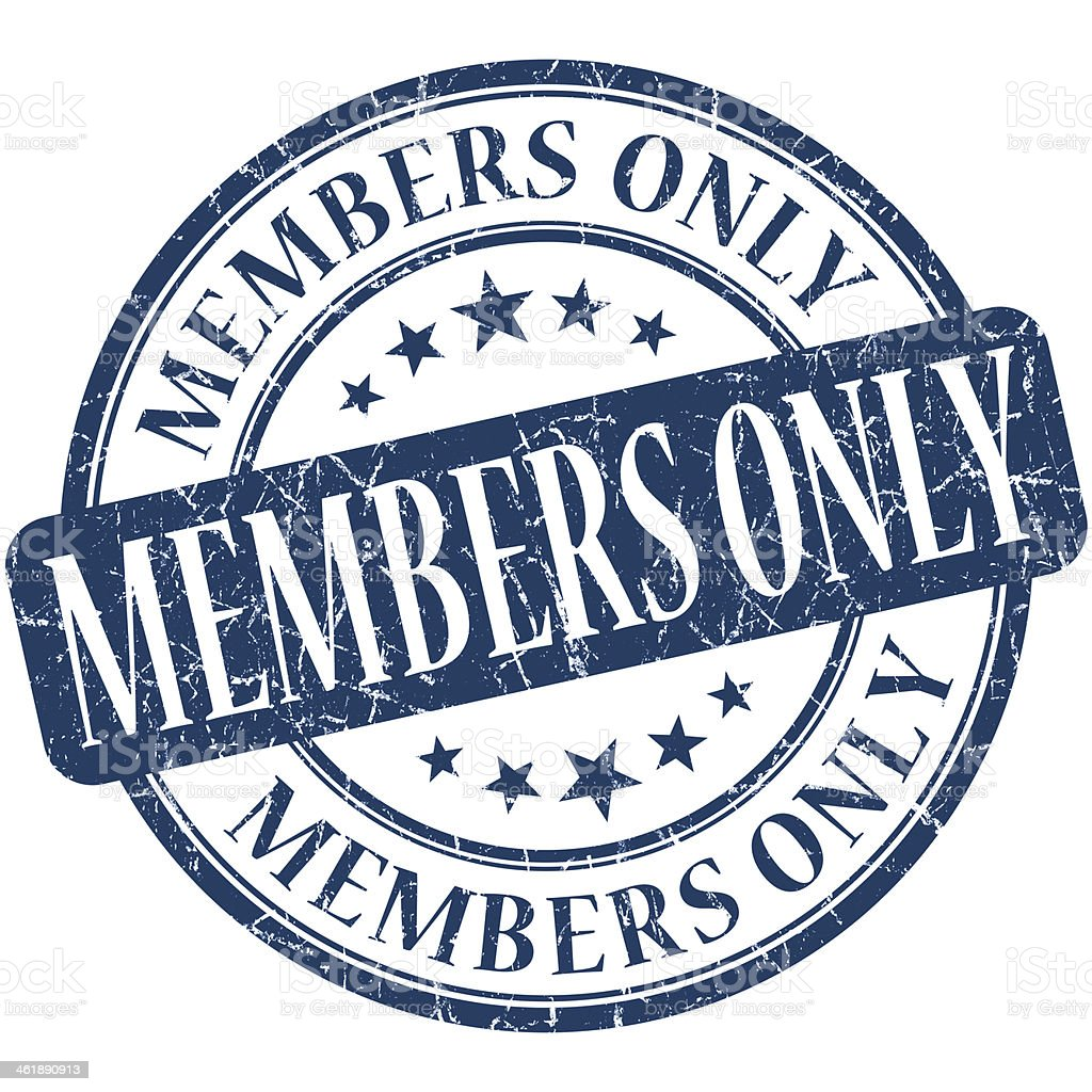 Members only grunge blue round stamp stock photo