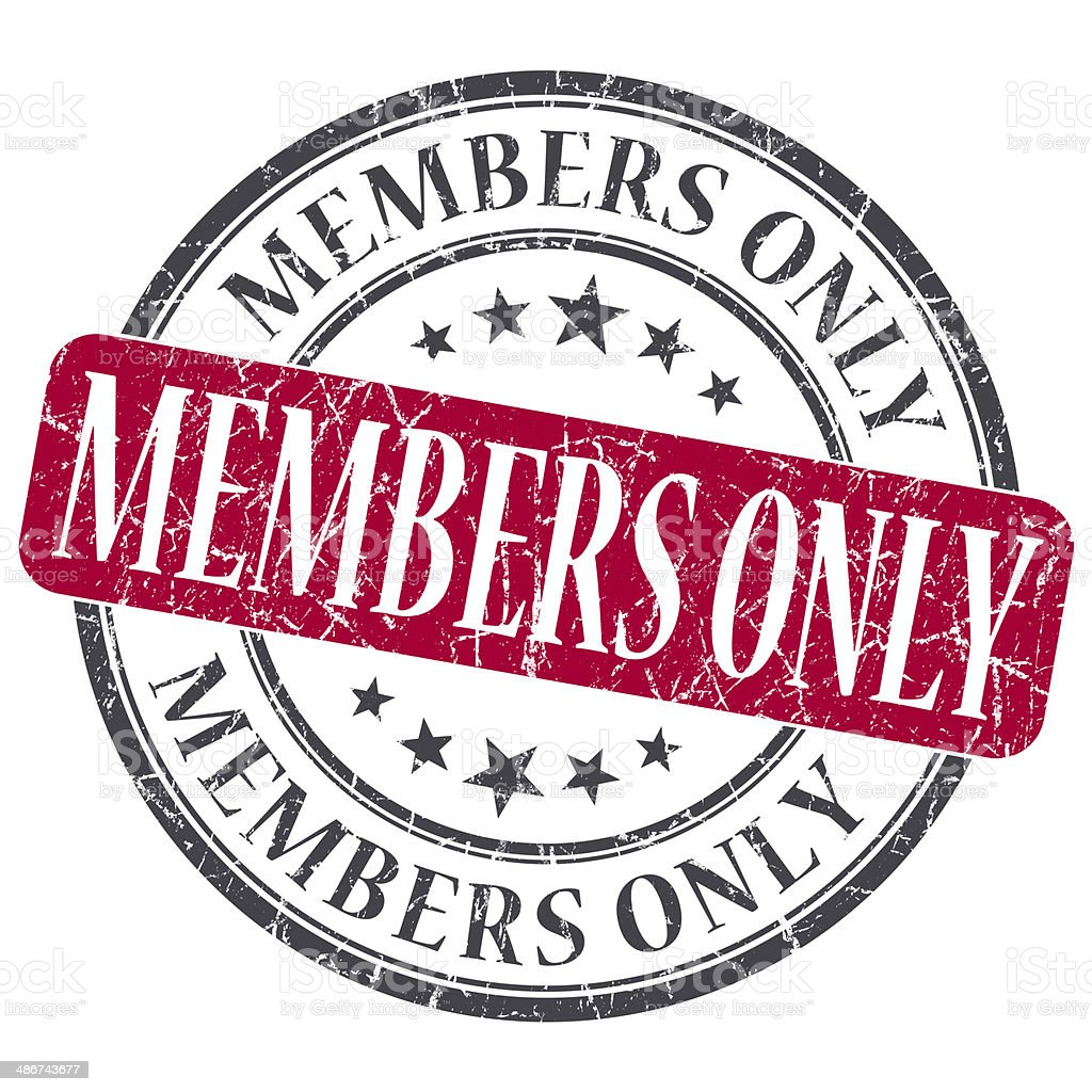 Members Only red grunge round stamp on white background stock photo