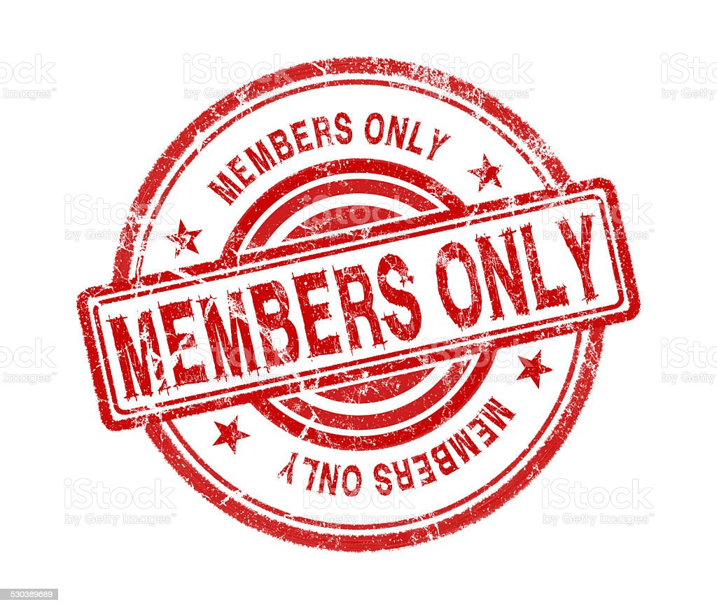 members only stamp on white background stock photo