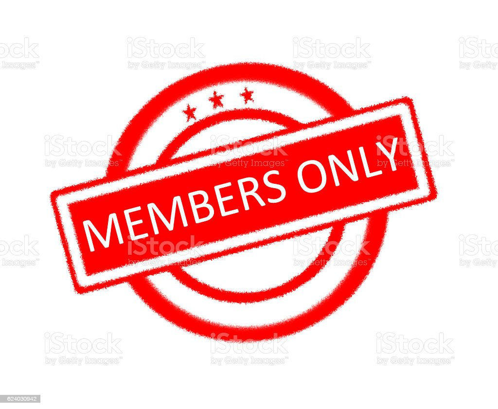 Members only written on red rubber stamp stock photo