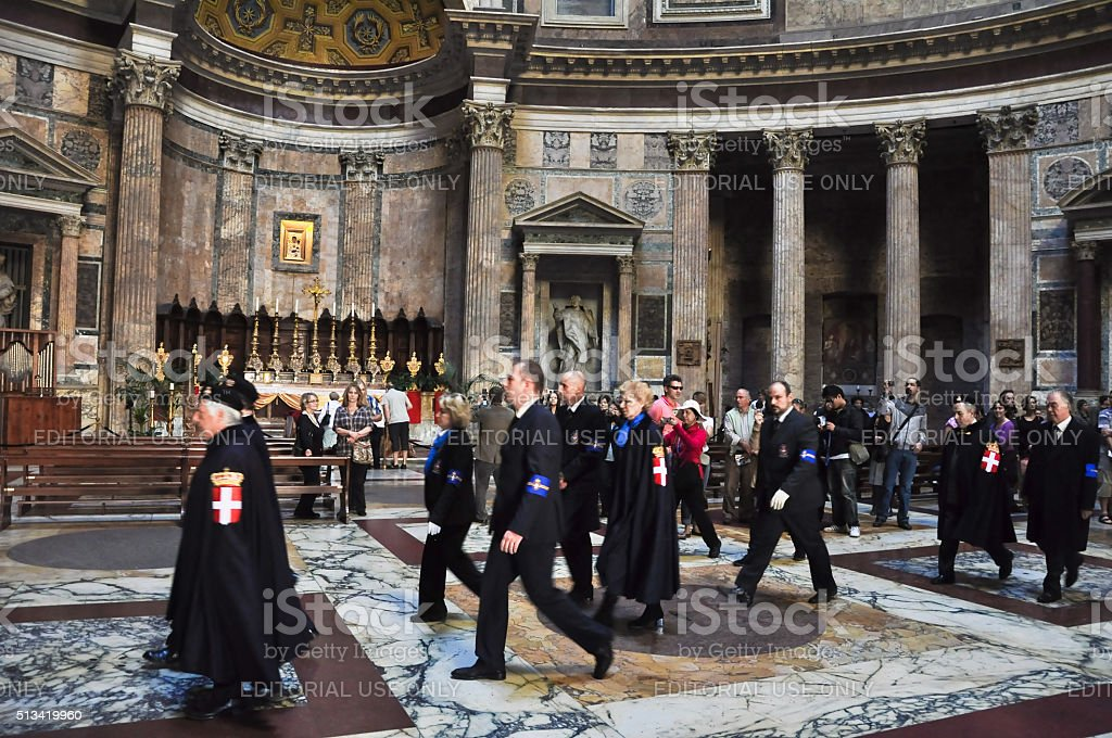 Members the House of Savoy in the Pantheon. Rome. stock photo