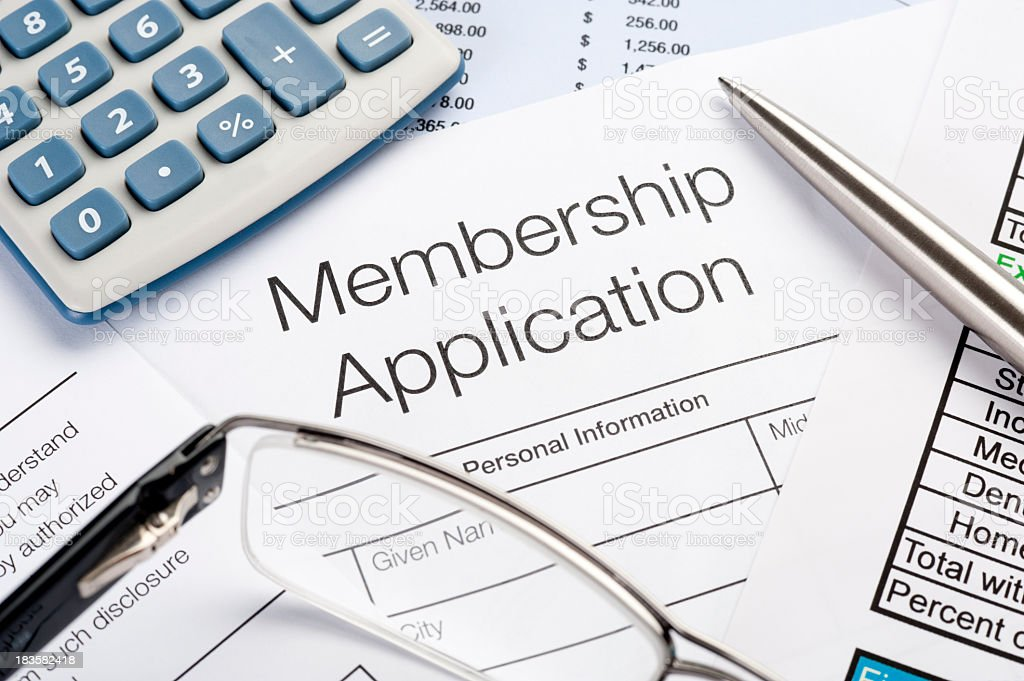 Membership application Form with pen and calculator royalty-free stock photo