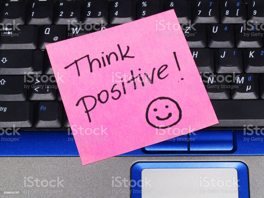 memo note Think Positive stock photo