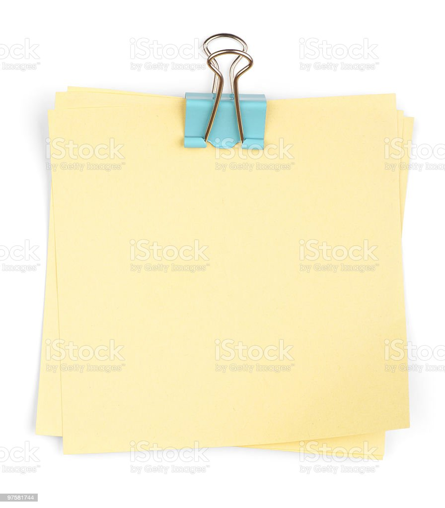 Memo Stack with Binder Clip royalty-free stock photo
