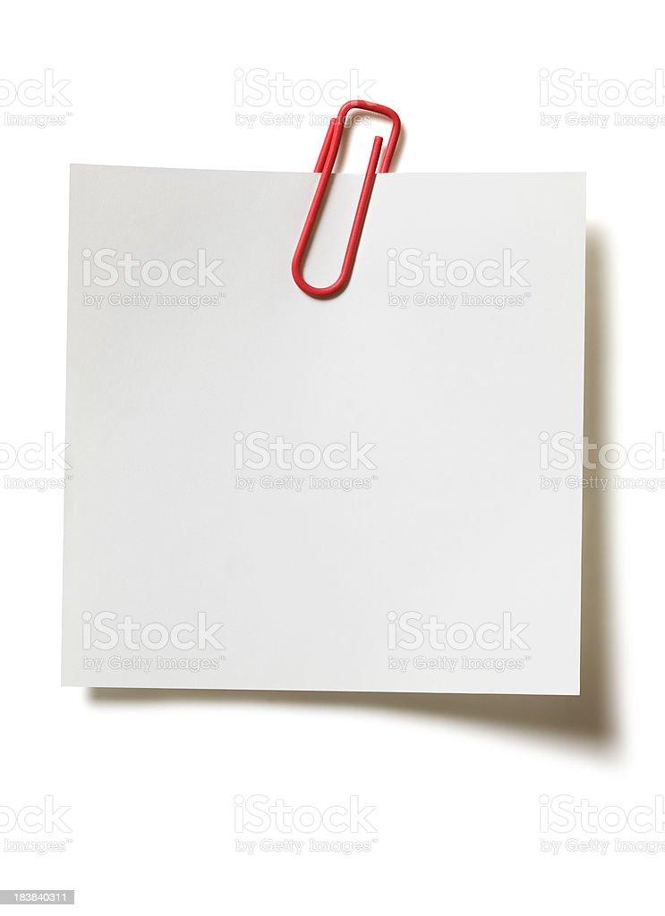 Memo with paper clip stock photo