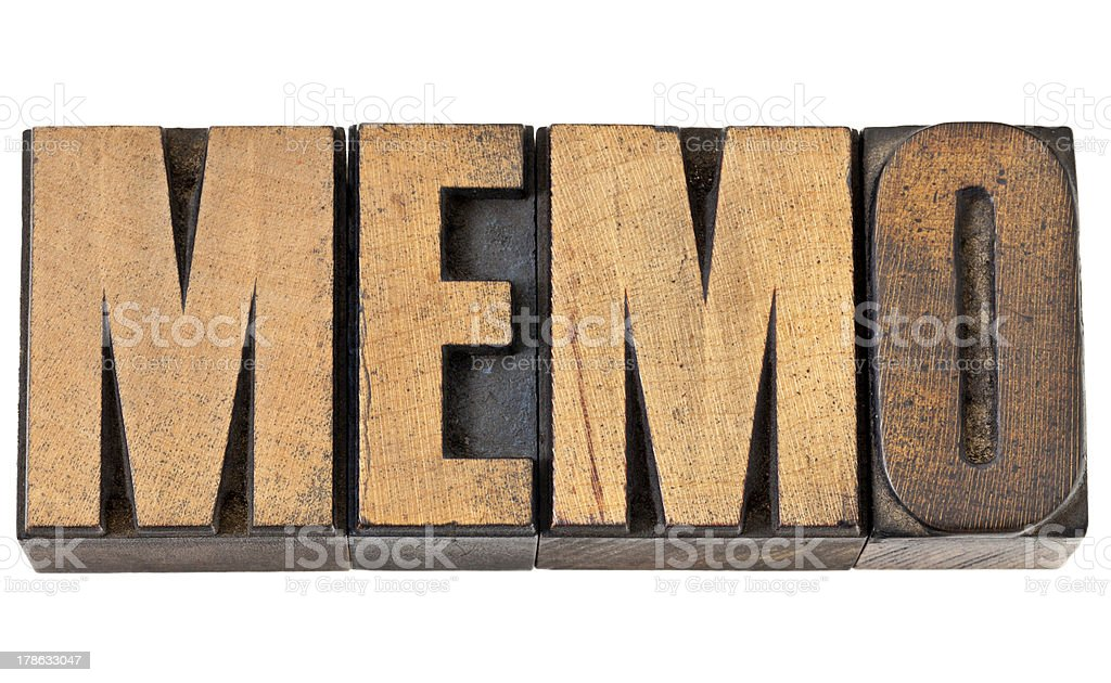 memo word in wood type royalty-free stock photo