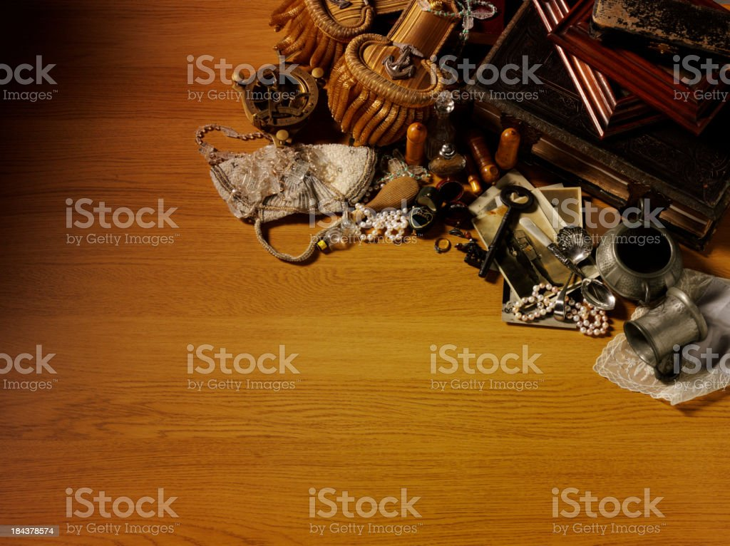 Memorabilia on a Wooden Table royalty-free stock photo