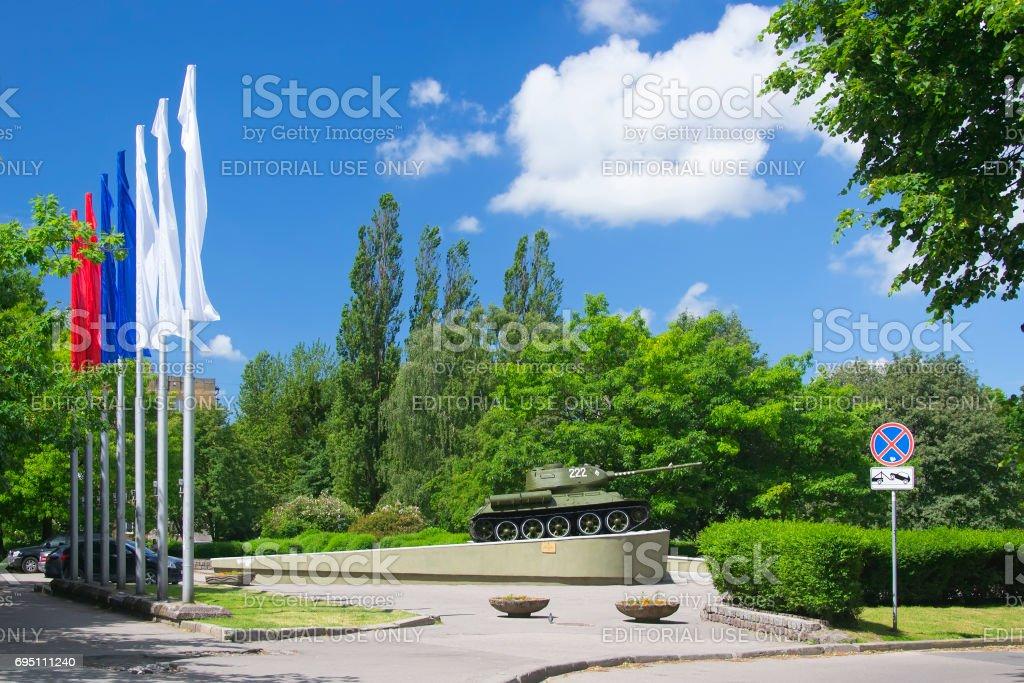 Memorable sign to soldiers-tankers, Rokosovskiy street, Kaliningrad stock photo
