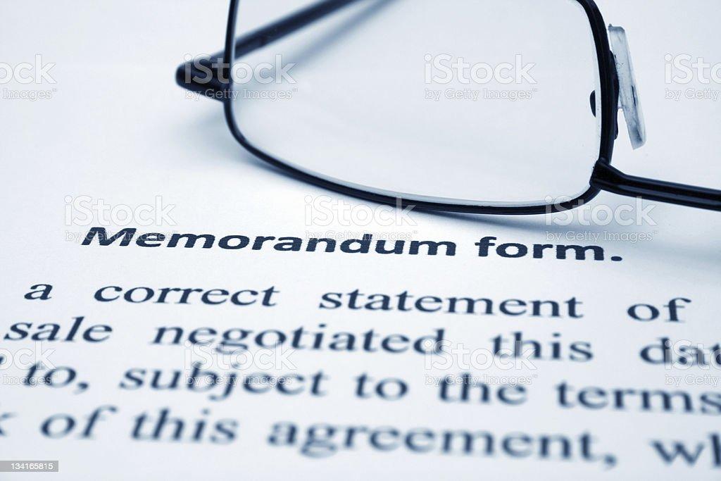 Memorandum form stock photo