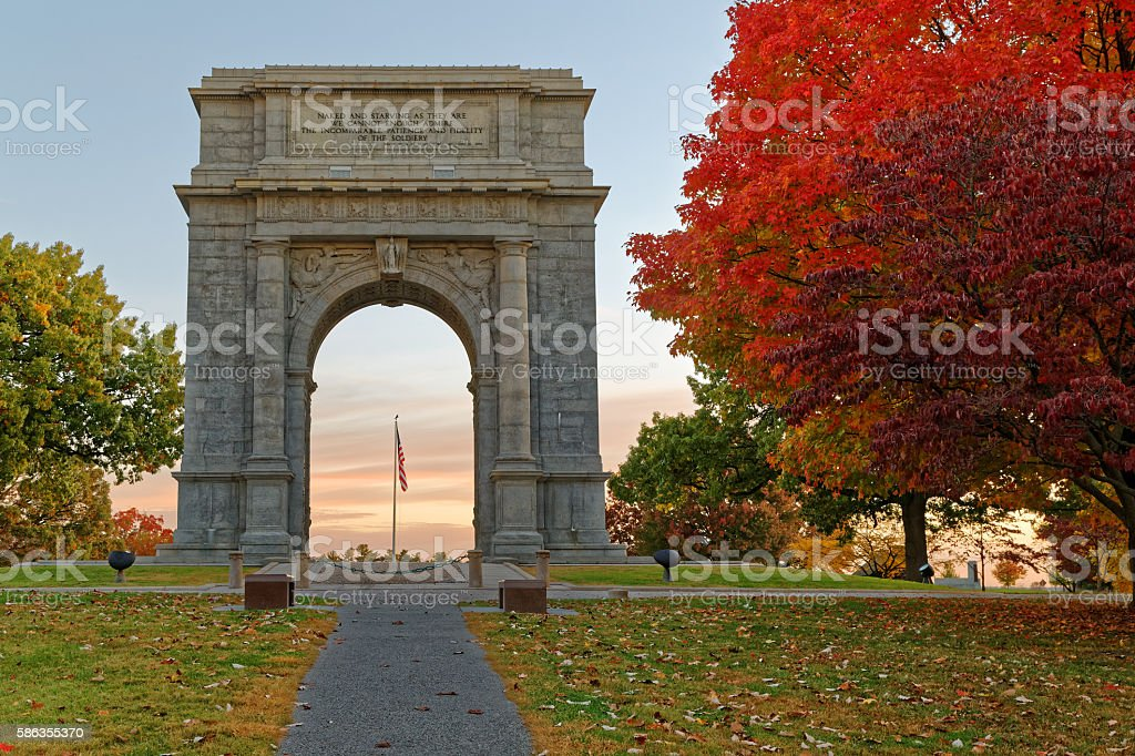 Memorial Arch at Valley Forge stock photo