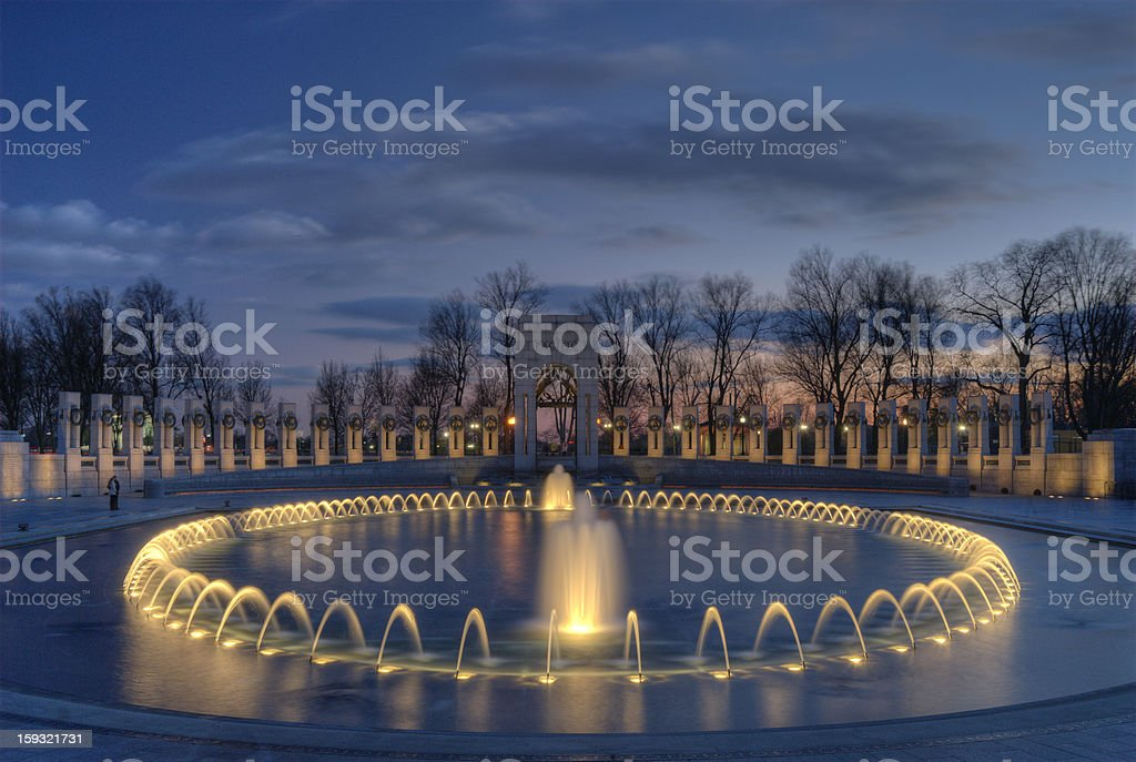 WWII Memorial at dusk stock photo