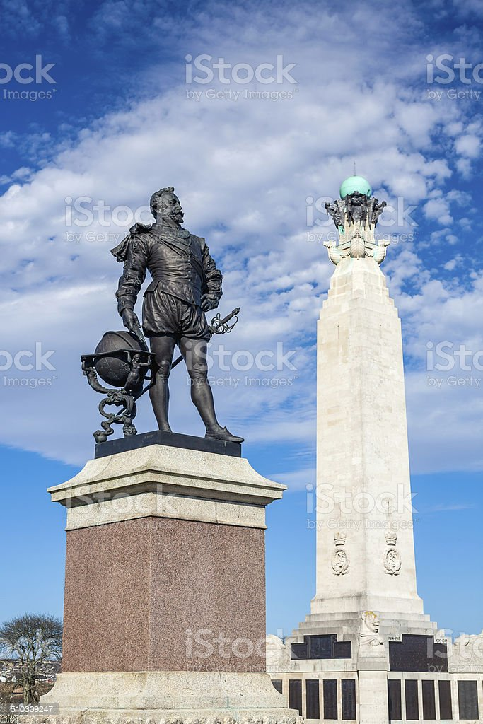 Memorial at Plymouth Hoe, Devon stock photo