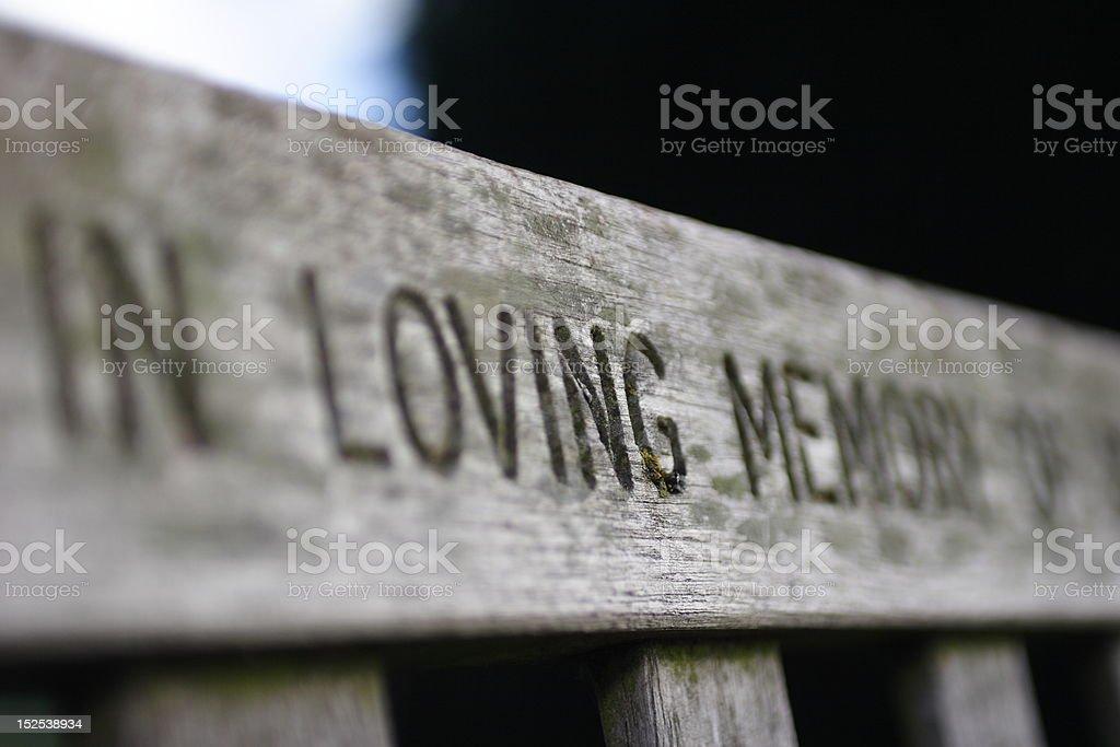 Memorial bench stock photo